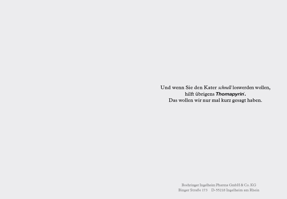 Storytelling: Thomapyrin hilft gegen Kater