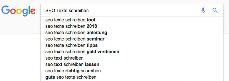 Google Suchanfrage mit Keyword
