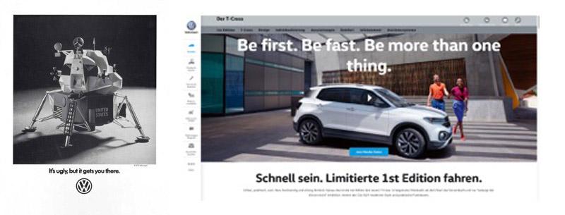 Werbeanzeige für VW 1969 und Online Text für VW