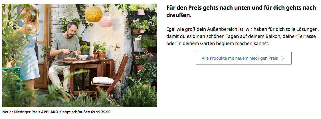 Headline IKEA Webseite -Corporate Language bei Ikea